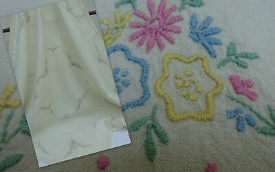 Stunning Embroidered Arts & Crafts Heavy Linen Tablecloth Antique 1900's Square