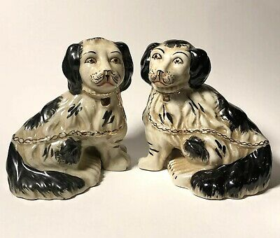 Pair of Antique Staffordshire Black & White Seated Spaniel Mantle Dogs