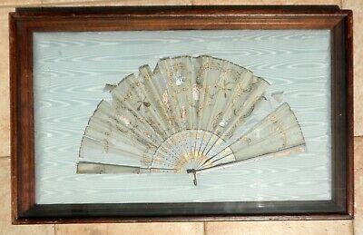 Antique Victorian Handmade Wood Lace Silk Fan French Framed