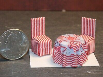 Dollhouse Miniature Kitchen Table Chairs Set Red 1:48 scale K30 Dollys Gallery