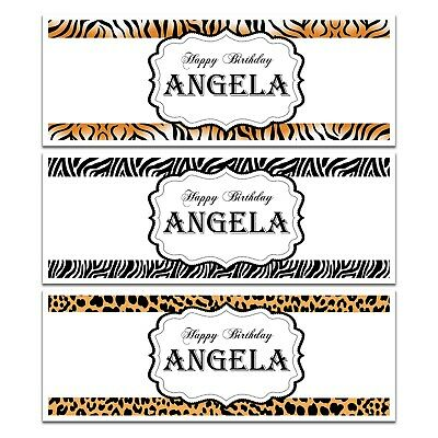 X 2 Personalised Birthday Party Name Banners Animal Print Tiger Leopard Any Age