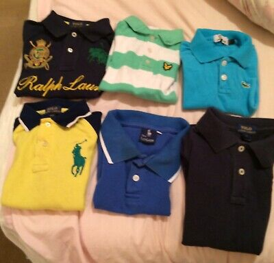 Boys Designer Tops Joblot Polo Ralph Lauren Lacoste Age 2-4 Years 6 Items resell