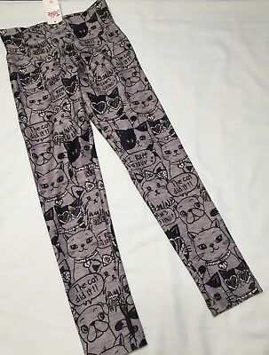 Justice NWT 12 Leggings New Girls Puppy Dog Cat Gray