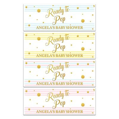 X 2 Personalised Baby Shower Ready To Pop Name Banners Party Decorations