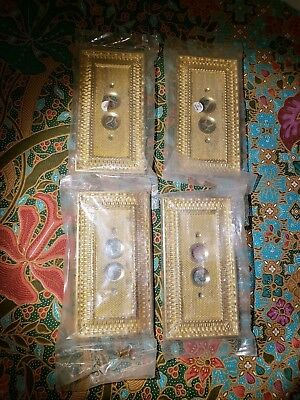 Lot of 4 Push Button Electric Light Switch Brass Outlet Cover Plates NOS Repro