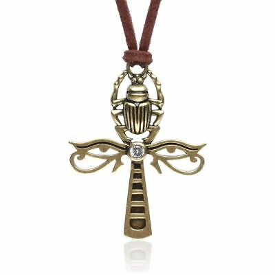 Karsee Egyptian Ankh Cross Pendant Necklace Horus Eye and Scarab Jewelry Gifts L