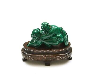 1970's Chinese Malachite Carved Carving Erotic Couple Figure Figurine Wood Stand