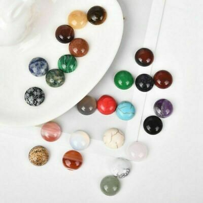 Charm 20Pcs Natural Stone Cabochon Flatback Buttons DIY Jewelry Crafts
