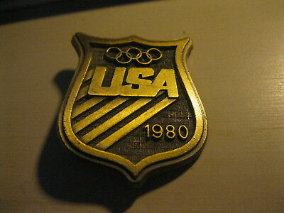 "Vintage USA 1980 Olympic Committee Dress Belt Buckle 2"" x 2.5"""
