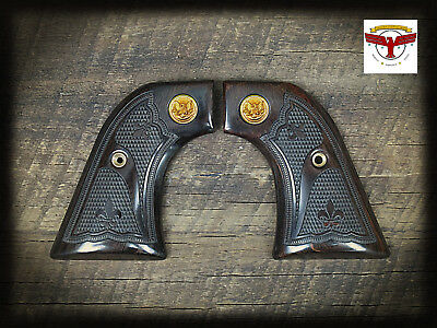 RUGER NEW VAQUERO, MONTADO, 50TH ANV GRIPS ~ AGED OAK FDL CHECKERING + GLE Med