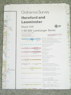 OS Ordnance Survey Landranger Map Sheet 149 Hereford & Leominster - 1989