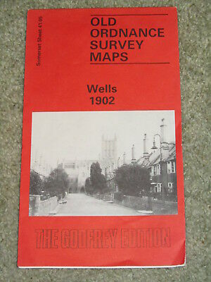 """OS Ordnance Survey Godfrey Edition Reproduction 1902 map of Wells 15"""" to 1 mile"""