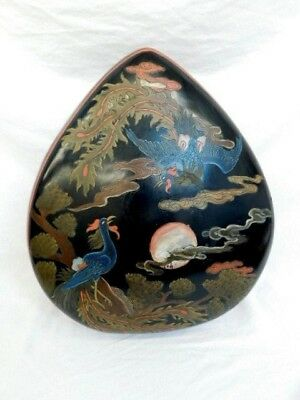 """Japanese Wood Lacquer Covered Box Phoenix Snake Trees Moon Vintage 17""""X14""""X5"""""""