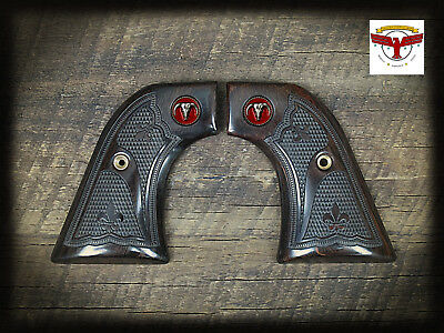 RUGER NEW VAQUERO, MONTADO, 50TH ANV GRIPS ~ AGED OAK FDL CHECKERING + Red Steer