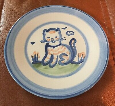 """M. A. Hadley Pottery Country Scene Blue Cat 7.5"""" Salad Plate EXC"""
