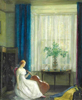 Wonderful Oil painting Ernest Wyon young woman with cello in room Hand painted