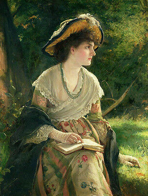 """Large oil painting nice young woman portrait wearing dress hat reading book 36"""""""