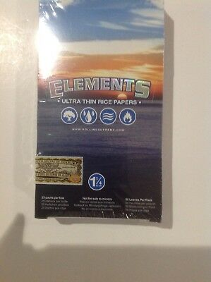Elements 1.25 Rolling Paper - Full Box 25 PACKS - Ultra Thin Rice 1 1/4 Size