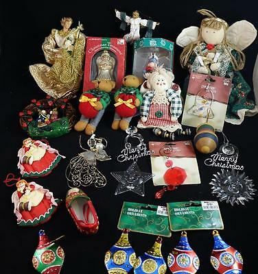 Lot of 23 Vintage Christmas Ornaments Wood Cloth Plastic Ceramic Twigs Wire #55