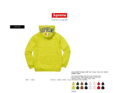 d34f7d648b6e Supreme® Champion® Arc Logo Zip Up Sweat Hoodie Bright Green Size XL FW17