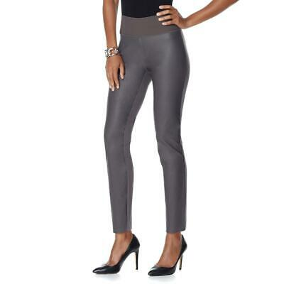 b3e2fcc447e51 DG2 by Diane Gilman Women's Ponte Jeggings with Faux Leather Grey Small  Size HSN