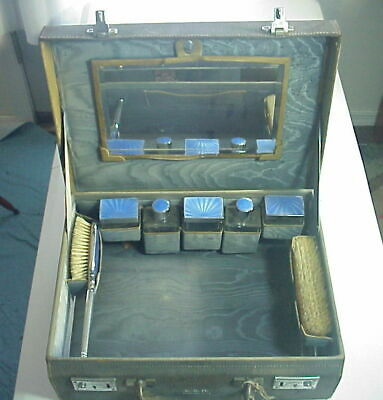 Antique VICTORIAN FRENCH ENAMELED VANITY TRAVEL CASE Made in ENGLAND