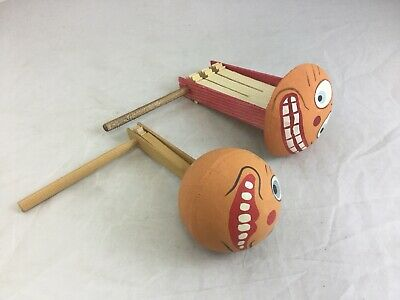 Lot 2 German Paper Maiche Cardboard Wood Ratchet Rattle Clicker Noisemaker