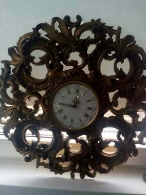 Vintage JAEGER Electronic Gold Ornate Rococo Style French Large Wall Clock