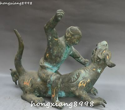 "13"" Antique China Bronze Ware Gold People Man Dragon Pixiu Beast Animal Statue"