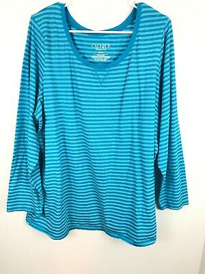 Lane Bryant Cacique Sleep Shirt 22/24 PJ Top Blue Silver Cotton Long Sleeve