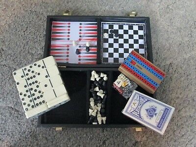 NEW Boeing Travel Game Set - Chess, Checkers, Backgammon, Cribbage, Dominoes