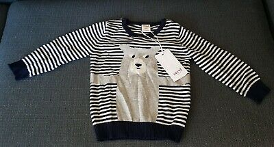Seed Heritage Size 1 Toddler 100% Cotton Midnight Blue Bear Knitwear Top