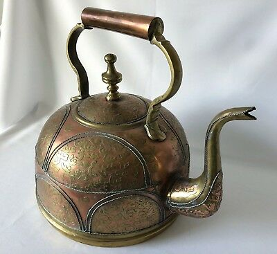 Antique brass kettle teapot possibly Middle Eastern Turkish, 1800s
