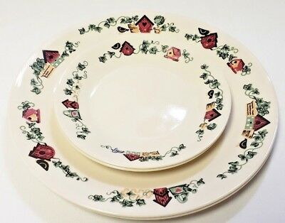 Corelle Garden Home Bird Houses Two Dinner Plates and Two Bread Butter Plates