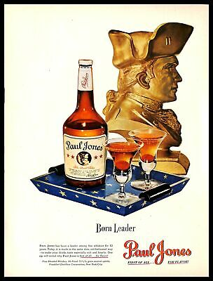 1948 Paul Jones Whiskey Alcohol Vintage PRINT AD Leader Table Statue Drink 1940s