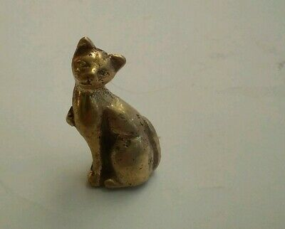 Sitting Cat Miniature Collectable Brass Figurine~Approx.3.5cm x 2cm & 20 grams