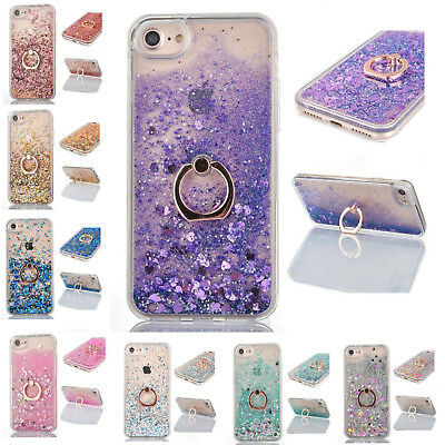 New Glitter Case Bling Liquid Quicksand Ring Grip Stand Cover For iPhone X 7 8