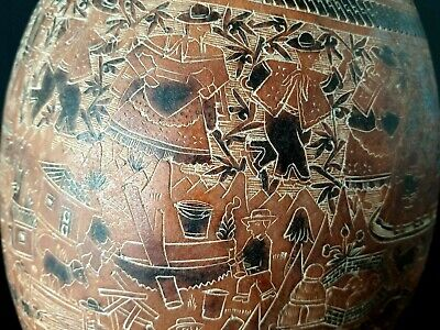 Old Peruvian Carved Story Gourd …beautiful collection piece