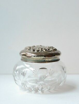 antique vtg glass vanity makeup cosmetic jar with monogrammed silver plate lid