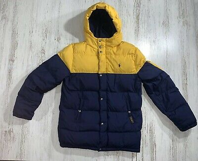 POLO RALPH LAUREN Puffer Coat Yellow W/ Blue Pony Boys Size XL 18-20 Used!