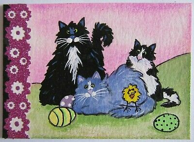 ACEO Original Acrylic Painting Cat Easter Ferals Kitties C Pryjmak cathy2276 USA