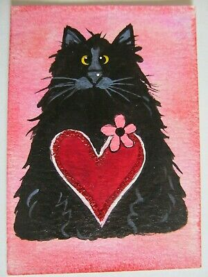 ACEO Original Acrylic Painting Love My Black Cat Kitty C Pryjmak cathy2276 USA