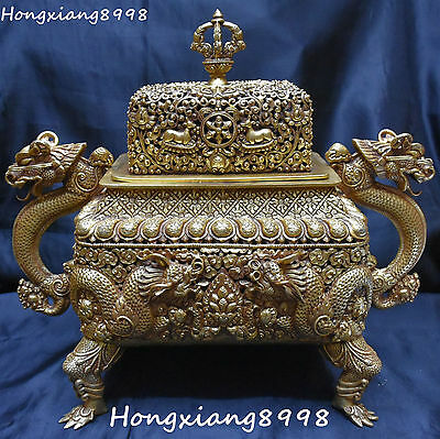 "17"" Old Pure Silver Gold Gild Dragon Loong Beast Incense Burner Censer Incensory"