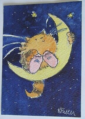 ACEO Original Watercolor Painting Cat Taking a Moon Ride Artist Kay Fuller USA