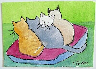 ACEO Original Watercolor Painting Cats Kitty Cat Cushion Artist Kay Fuller USA