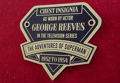 Custom George Reeves Adventures Of Superman B&W Chest Insignia Display Placard