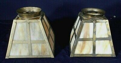 Vintage Pair Of Arts & Crafts Mission Stained Slag Glass Brass Shades