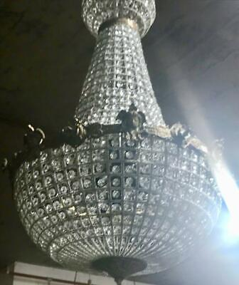 Large French Style Glass Crystal Basket Chandelier With Brass Jester Detail #2
