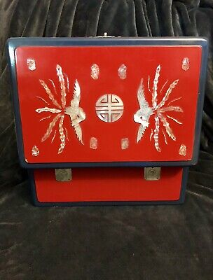 Chinese Oriental Asian Lacquered Wooden Box Inlaid MOP Storage Wedding Food 12""