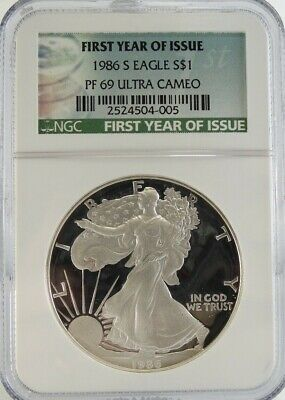 1986 S Proof American Silver Eagle Ngc Pf 69 Ultra Cameo First Year Of Issue